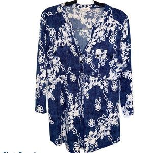 Maternity Tunic Cobalt Blue & White XL Siren Lily